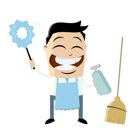 Funny cartoon man with cleaning equipment