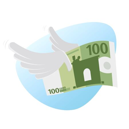 Clip-art of euro bank note with wings