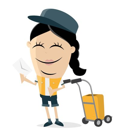 funny clipart of a postwoman bringing a letter Vector illustration.