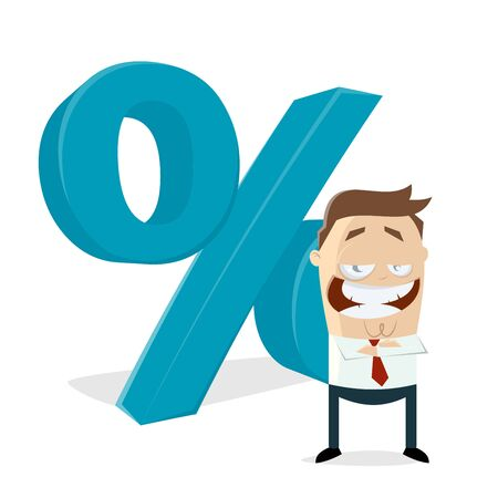 businessman standing in front of a percent sign Vector illustration. Çizim