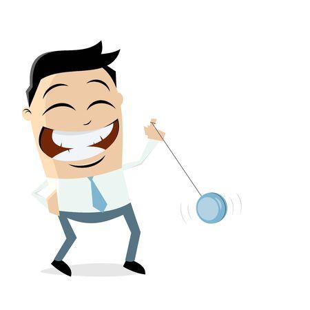 Funny businessman playing yoyo vector illustration.