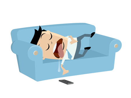 Funny businessman sleeping on the sofa vector illustration.