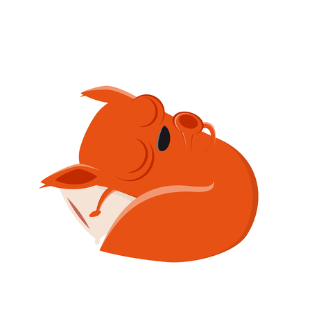 Funny cartoon squirrel is sleeping vector illustration.