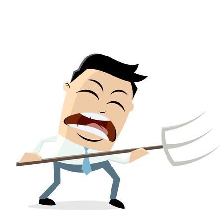 Angry businessman with pitchfork vector illustration.