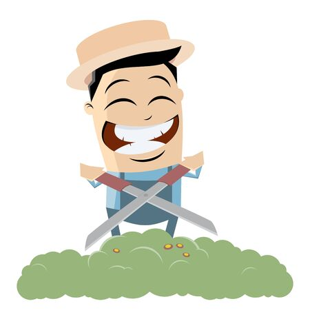 Clip art of a happy gardener cutting grass vector illustration. 矢量图像