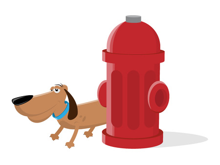 A dog peeing on a fire hydrant clip art isolated on plain background.