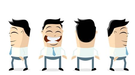 A funny businessman in different views isolated on plain background. Illustration