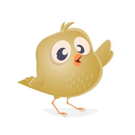 A funny canary bird clip art isolated on plain background.