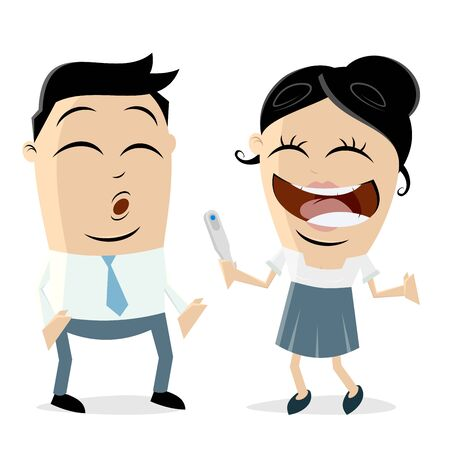 Woman telling man that she is pregnant clip art