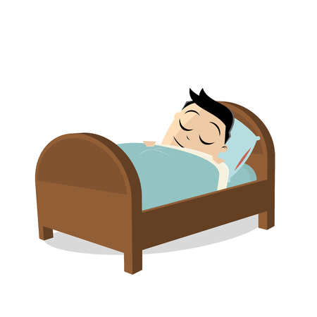 Tired man sleeping in his bed  イラスト・ベクター素材