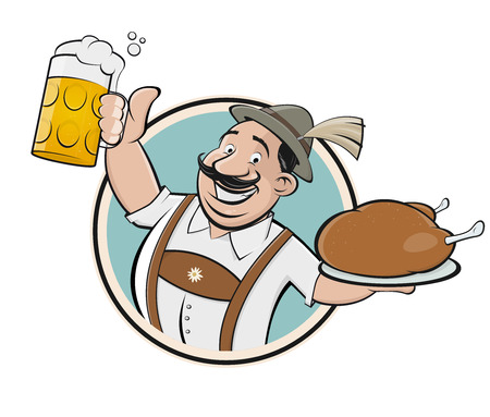 Bavarian man with beer and chicken sign Illustration