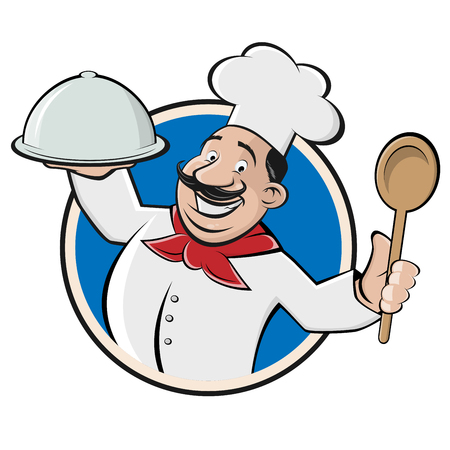 funny restaurant chef with cloche and spoon