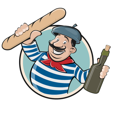 Funny clip art of a french man with baguette and wine.