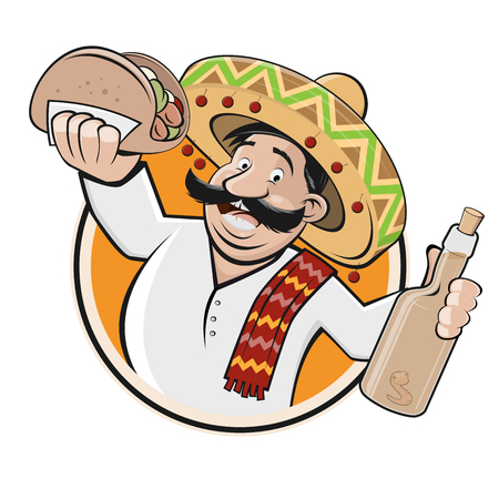 Funny Mexican restaurant or food sign vector illustration Vettoriali