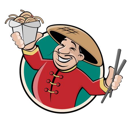 Chinese restaurant sign logo vector illustration