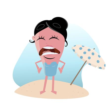 Clipart of a woman with sunburn