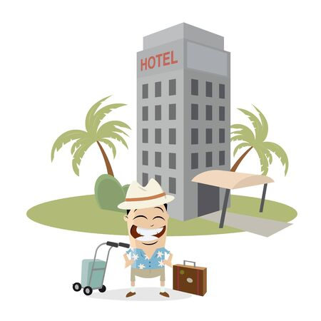 tourist in front of a hotel Illustration