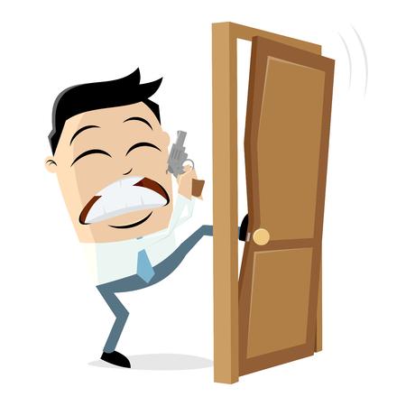 Detective breaking the door Illustration