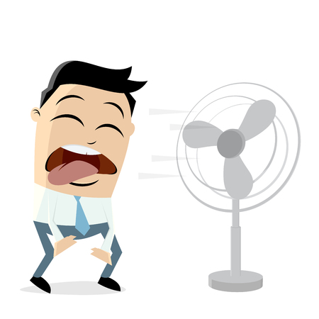Businessman standing in front of a fan