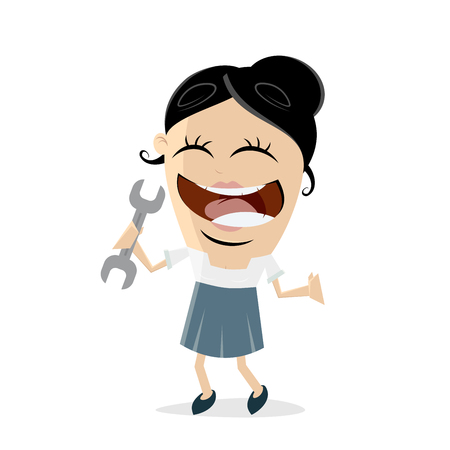 Clipart of a happy businesswoman with a wrench Illustration