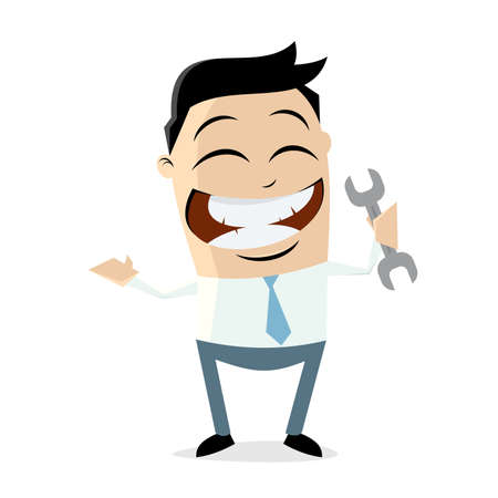 Clipart of a happy businessman with a wrench Illustration