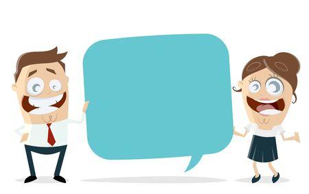 Happy business team with speech bubble vector illustration Ilustração