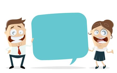 Happy business team with speech bubble vector illustration Illustration