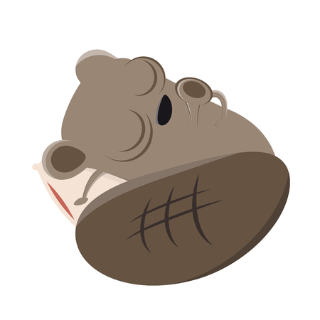 A funny cartoon beaver is sleeping isolated on plain background. Illustration