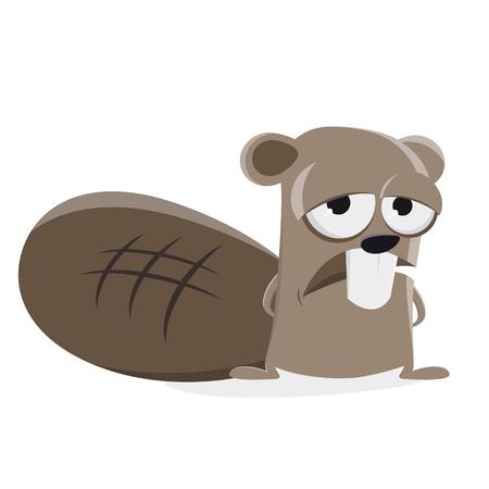 sad beaver clip art illustration Vettoriali