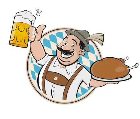 bavarian man with beer and chicken sign Vektoros illusztráció