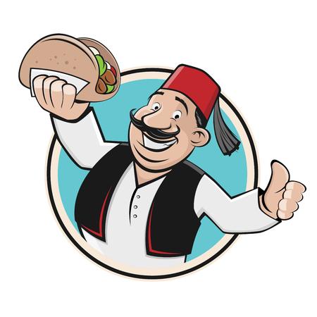 doner symbol icon restaurant logo 向量圖像