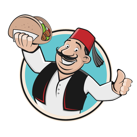 doner symbol icon restaurant logo Illustration