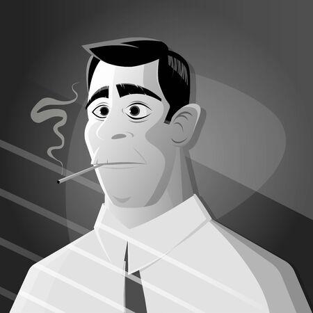 retro cartoon man smoking cigarette