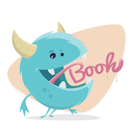 Funny monster with booh tongue vector illustration. Ilustrace