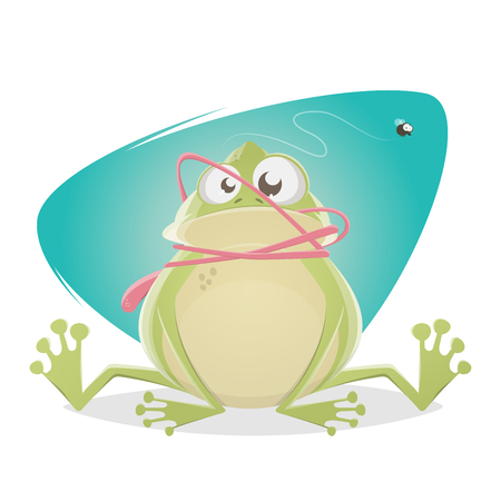 Funny frog with tongue accident  イラスト・ベクター素材