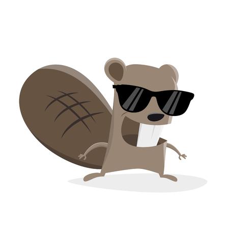 Funny cartoon beaver with sunglasses