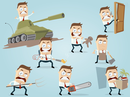 Angry businessman in different situations Illustration