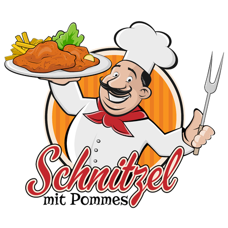 chef serving german or austrian dish schnitzel mit pommes 向量圖像