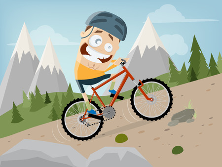funny cartoon man is riding a mountain bike with landscape background Stock Illustratie