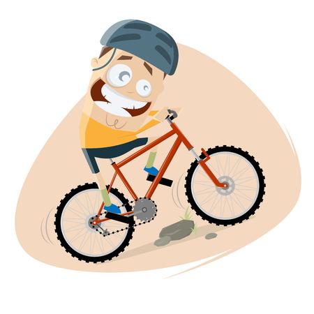 面白い漫画の男はマウンテンバイクに乗っています 写真素材 - 102582143