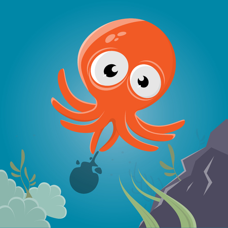 funny cartoon squid