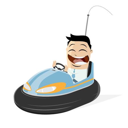 happy businessman in a bumper car Иллюстрация
