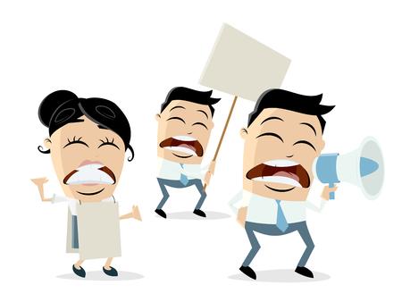 angry cartoon demonstrators Ilustrace