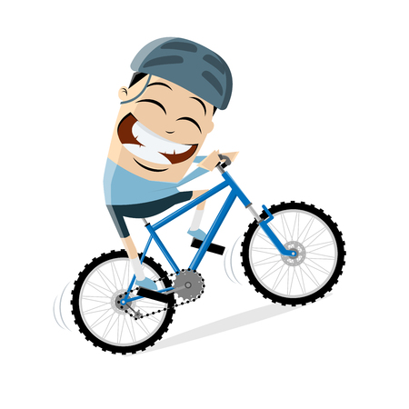 funny cartoon man is riding a mountain bike