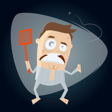homme ennuyé chassant le moustique