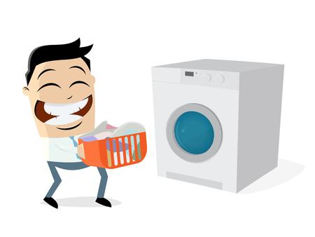 Hombre de divertidos dibujos animados con ropa sucia y lavadora