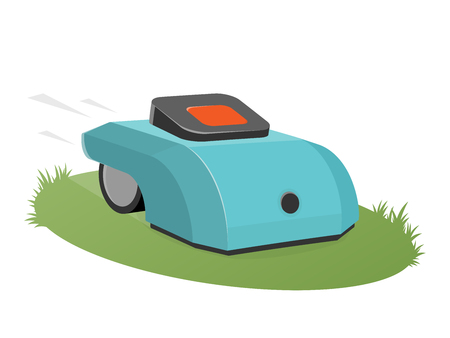 automatic lawnmower mowing the lawn Stock Illustratie