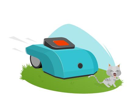 automatischer Rasenmäher, der niedliches Kätzchen angreift
