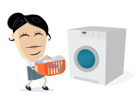 funny cartoon woman with dirty laundry and washing machine Vektorové ilustrace