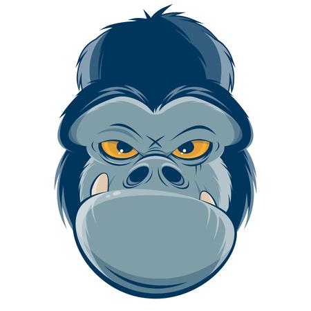 angry gorilla head clipart  イラスト・ベクター素材